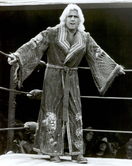 Ric Flair from 1979 and Check out the Picture of a Lion at the Bottom of his Robe