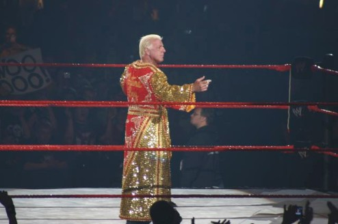 Ric Flair with Red and Gold Robe on