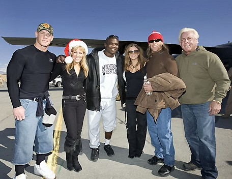 Ric Flair With Shawn Michaels,Maria,Shelton Benjamin,Lilian Garcia and John Cena