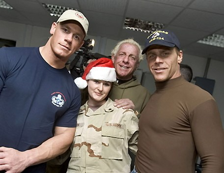Ric Flair and Shawn Michaels and John Cena with another Woman Soldier