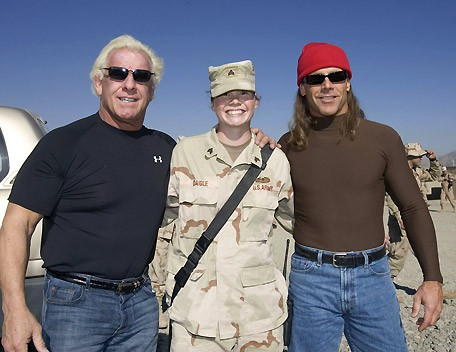 Ric Flair and Shawn Michaels With a Woman From The U.S. Army Serving in Afghanistan