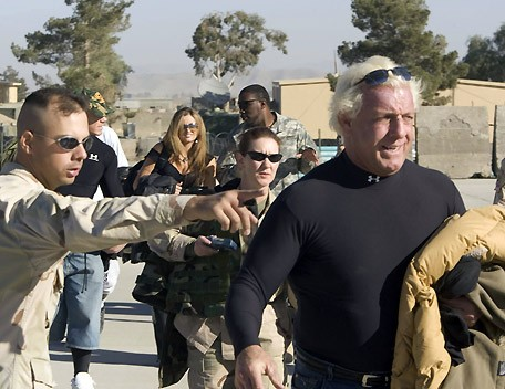 Ric Flair arriving in Afghanistan