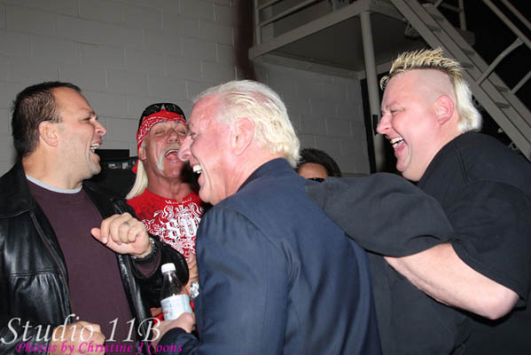 Ric Flair, Hulk Hogan and the Nasty Boys sharing a Laugh