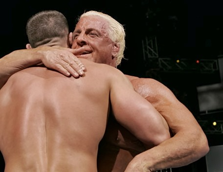 Ric Flair and John Cena Embracing in a Memorable Moment